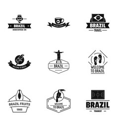 Brazil logo set simple style vector
