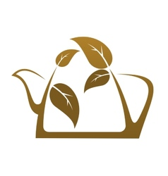 Brown teapot with tea leaves vector