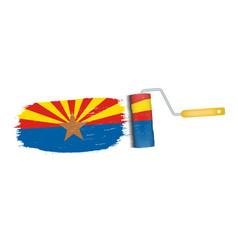 Brush stroke with arizona national flag isolated vector