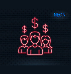 Business networking line icon dollar sign vector