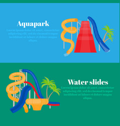 Cartoon family water park with slides and pool vector
