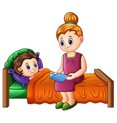 cartoon mother reading bedtime story to her son be vector image