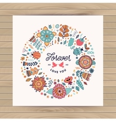 Circle frame wreath made of flowers vector
