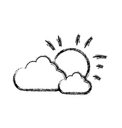 clouds and sun icon vector image