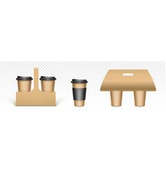 coffee cups in kraft paper holders vector image