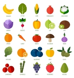 Colorful flat fruits and vegetables icons set vector