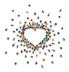 Crowd of people in the form of a heart symbol vector