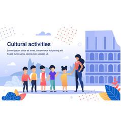 Cultural activities for kids flat banner vector