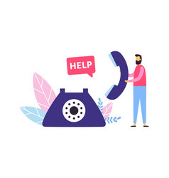 Customer support call center concept man vector