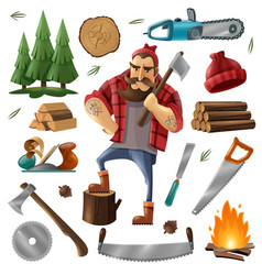Deforestation lumberjack icon set vector