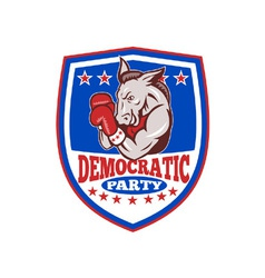 Democrat Donkey Mascot Boxer Shield vector