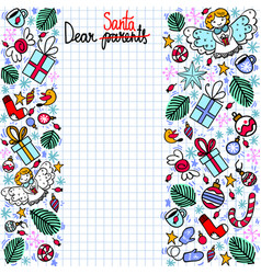 Doodle christmas wish list with copyspace vector