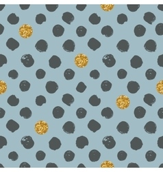 Dots seamless pattern with golden glitter texture vector image
