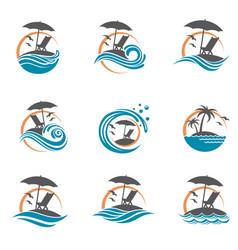 Emblems set of summer vacation vector