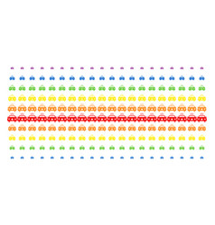 emergency car shape halftone spectrum grid vector image