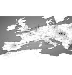 Europe grayscale map big data vector
