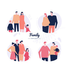Family - flat design style characters set vector
