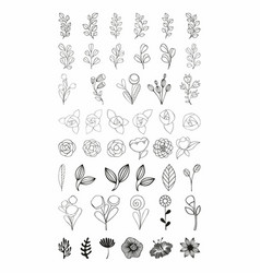 Flower set stylized flowers vector