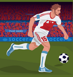 Football player with spectator area vector