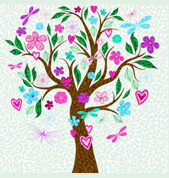 Frame with stylized spring tree with multicolored vector