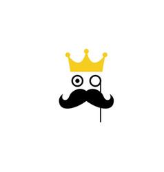 gentleman prince crown mustache logo vector image