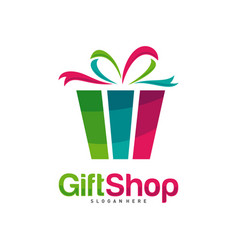 gift shop logo design concept template colorful vector image