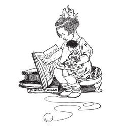 Girl reading book holding doll toys vintage vector