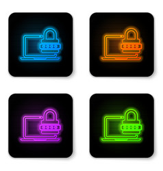 glowing neon laptop with password notification vector image