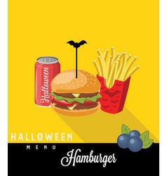 halloween menu sodafrench fries hamburger vector image