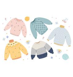 Handdrawn warm winter and autumn woolen vector