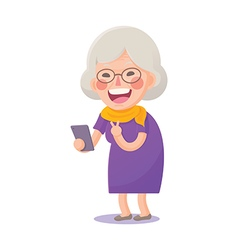 Happy Old Woman Take a Selfie vector image