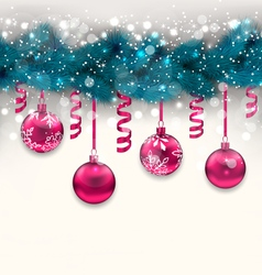 holiday background with Christmas fir branches and vector image