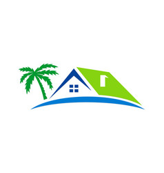 house beach holiday palm tree logo vector image