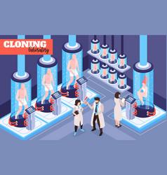 Human cloning laboratory isometric vector
