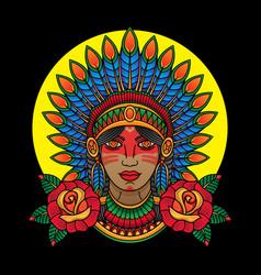 indian apache girl vector image