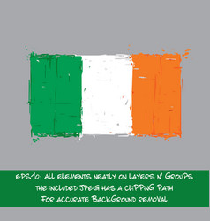 irish flag flat - artistic brush strokes and vector image vector image