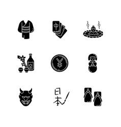 Japan black glyph icons set on white space yukata vector