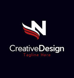 letter n wings creative business logo vector image