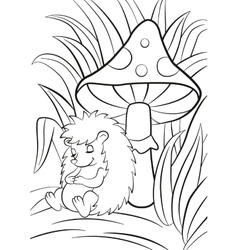 Little cute hedgehog sleeps near the big toadstool vector