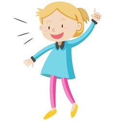 Little girl in blue shirt vector