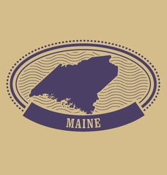 Maine map silhouette - oval stamp vector