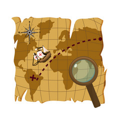 Map with ship discovery america and magnifying vector