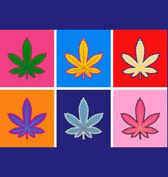 marijuana green leaf art pop art style abstract vector image