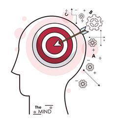 Mind head profile target market strategy gears vector