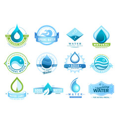 Mineral water labels drinking water drops leaf vector
