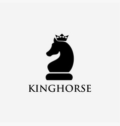 minimalist king horse chess logo icon template vector image