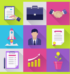 modern business flat icons set vector image