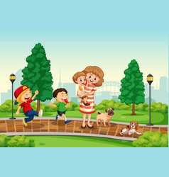 Mother and children at the park vector