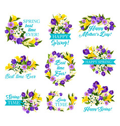 Mother day spring holiday icon with flower bouquet vector