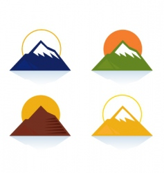 mountain and tourist icons vector image
